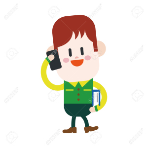 Character illustration design. Boy using cell phone cartoon,eps